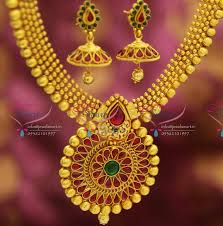 nl2632 kempu style ruby broad design gold plated jewellery