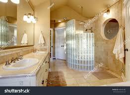 antique bathroom design glass shower tile stock photo 449146186