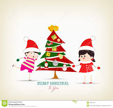 vintage christmas tree vintage christmas tree and kids funny stock vector image 45513254
