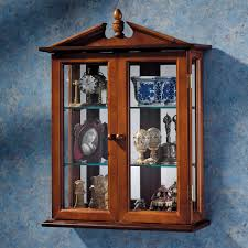Curio Cabinets Shelves Amusing Kitchen Wall Mounted Curio Cabinet Come With Red Wooden