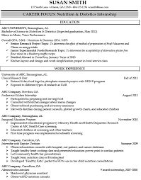 Resume Template For Internship Registered Dietitian Resume Sample Http Jobresumesample Com