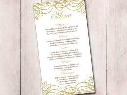 diy wedding menu cards gold wedding menu card template wedding reception menu