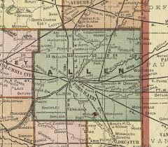 map of allen allen county indiana 1908 map fort wayne