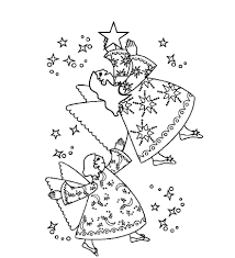 print two christmas angel picking the star coloring pages or