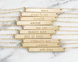 personalized name bar necklace custom bar necklace etsy