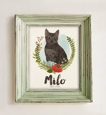 cat portrait custom pet memorial gift pet loss gift custom