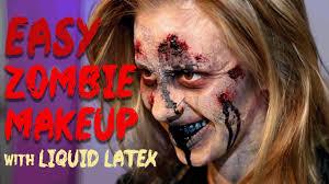 easy zombie makeup liquid latex u0026 tissue u0026 removal youtube