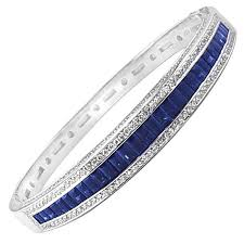 sapphire bracelet with diamonds images Sapphire diamond gold bangle bracelet for sale at 1stdibs jpg