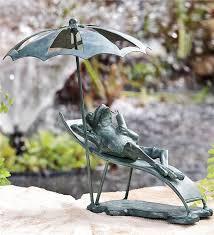 chair frog cast iron garden statue garden statues