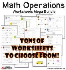 basic operations add subtract multiply divide worksheets mega