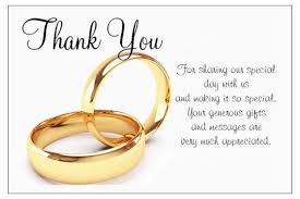 wedding gift message luxurious golden wedding thank you card message ring for married