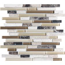 Glass Tiles Bathroom Shop Anatolia Tile Java Linear Mosaic Stone And Glass Wall Tile