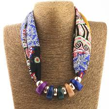 resin bead necklace images Silk scarf necklace resin beads neckerchief scarves women printed jpg
