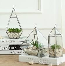Modern Glass Vase Flower Vase Home Decoration Geometric Vases Storage Box Clear