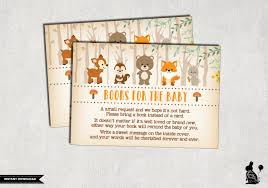 bring a book instead of a card woodland baby shower insert
