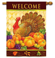 thanksgiving welcome turkey harlequin large decorative flag