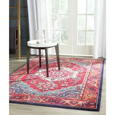 Home Depot Wool Area Rugs Safavieh Monaco Red Turquoise 8 Ft X 11 Ft Area Rug Mnc207c 8