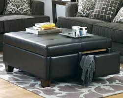 Leather Storage Ottoman Coffee Table Square Leather Storage Ottoman Coffee Table Beaconinstitute Info