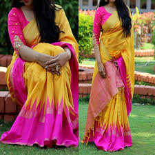 pink combination buy bollywood sarees yellow and pink combination poly silk