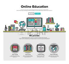 design online education line icons with flat design elements of online education technology