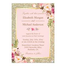 blush and gold wedding invitations gold glitters blush pink floral wedding invitation zazzle