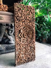 carved wood tree wall carved bed headboard panel wall sculpture thai teak