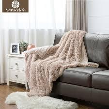 fur throws for sofas naturelife super soft faux fur blanket warm pv fleece blankets throw