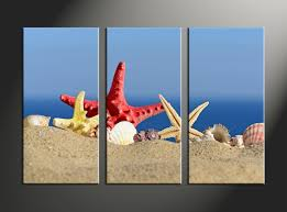 Ocean Home Decor by 3 Piece Canvas Red Yellow Starfish Blue Ocean Art