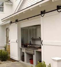 a great outdoor grilling area coverup sliding barn doors