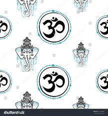 traditional indian symbols om ganesh lotus stock vector 377346883