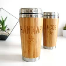 set of two personalised couples bamboo travel mugs allen