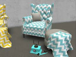 Chevron Armchair Second Life Marketplace Inspired Blue Chevron Chair N