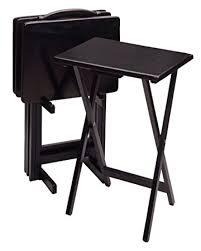 amazon com winsome wood 5 piece tv table set black kitchen u0026 dining
