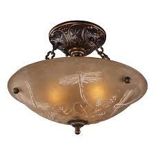 Bronze Semi Flush Ceiling Light by 16
