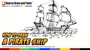 how to draw a pirate ship doodle art for kids draw a ship