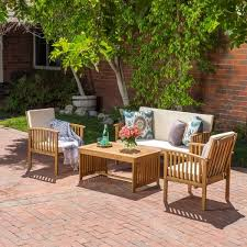 Mountain Outdoor Furniture - carolina 4 piece outdoor acacia sofa set by christopher knight