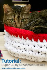 Cat Bed Pattern Tutorial Super Bulky Crocheted Cat Bed Red Handled Scissors