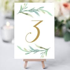 wedding table numbers template greenery wedding table numbers template printable reception