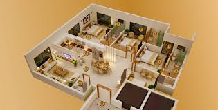 3 bed luxury apartments 1500 and 1700 sq ft 3d floor plan