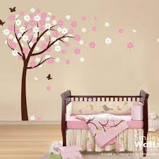 Vinyl Wall Decals For Nursery Blooming Cherry Tree With Butterflies Nursery Vinyl Wall Decal