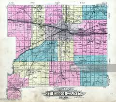 Indiana Counties Map Indiana 1911 County Map St Joseph County Stock Illustration