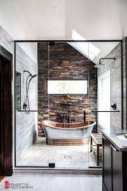 Contemporary Bathroom Photos by A Rustic And Modern Bathroom Desiretoinspire Net Modern