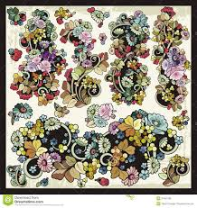 vector floral flourishes ornamental clipart set stock vector