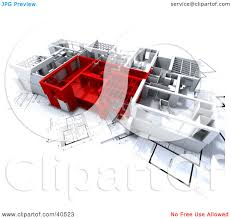 clipart illustration of red and white 3d home floor plans by frank