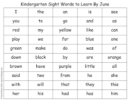 kindergarten sight words list great minus the colors attach