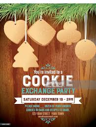 christmas cookie exchange party invitation template vector art