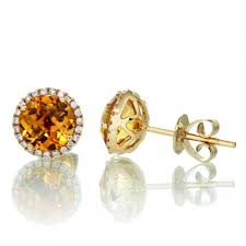 citrine earrings citrine earrings diamond halo stud 6 5mm