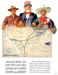 American Airlines Route Map 1943 american airlines route map uncle sam canada mexico wwii