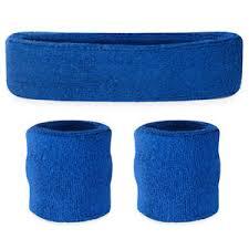 sport headband suddora blue sweatband set cotton wristbands and sport headband