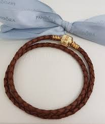 gold clasp leather bracelet images Authentic pandora brown leather 34 cm double wrap gold clasp jpg